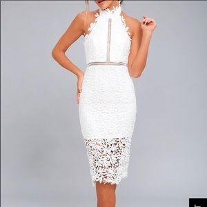 Lulu's white crochet midi dress - Size XL